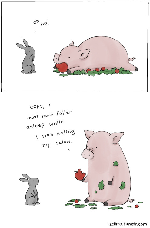 thefluffingtonpost:  Healthy Eating [COMIC] Here at The FluffPo, we love two things above all else: the Cute, and the Funny. That's why when we discovered Liz Climo's adorable and hilarious animal comics, it was love at first sight. We're thrilled to debut her latest as a FluffPo exclusive! If it made you smile, go check out more of them on her fantastic Tumblr. Be sure to also follow her on Twitter and Facebook.