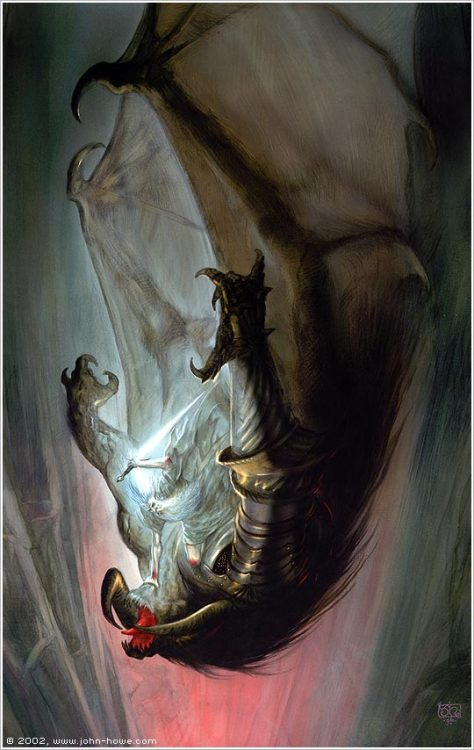 Gandalf falls with the Balrog, by John Howewww.john-howe.com