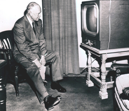 Candidates on TV Dwight D. Eisenhower watching his running mate, Richard Nixon, on television.  9/23/52.