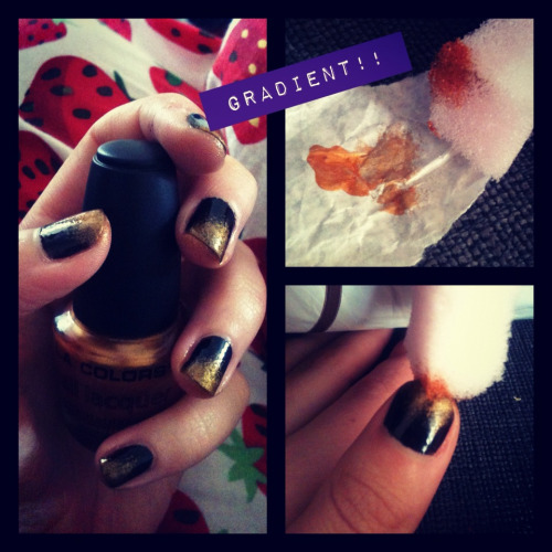 Gradient nail tutorial!  What you will need:  - Coloured base coat  - Another colour, that works well with the base  - Clear top coat  - Bath sponge  - Scrap paper/mixing pallet  1. Paint your base coat. I find two thin layers works well.   2. Wait about half an hour in between both coats, as you don't want your colours mixing.   3. Drop some polish onto the paper, and dip a corner of your sponge into the polish.   4. Dab off excess polish.   5. Create the gradient by starting a thicker layer at the top of the nail, then dap thinner and lighter working your way to about three quarters down the nail.   6. Wait for the colour to dry.  7. Finally add one or two top coats of clear top coat.    There you have it, a real simple and easy effect to create. It looks really cool. It'll take a few times to perfect, and getting colours right. I'm not 100% keen on these two colours, but I'm going out and these colours match my outfit :) Enjoy!!