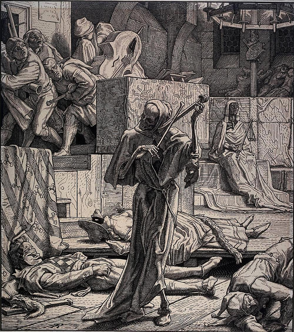 books0977:  Alfred Rethel, Death the Strangler - The first outbreak of cholera at a masked ball in Paris, 1831 (Der Tod als Erwürger - Erster Auftritt…). 1851. Wood engraving. The British Museum. In the centre, Death personified, holding two bones as if he was playing the violin; surrounding him, the bodies of three dead people lying on the floor; in the top left corner, a group of musicians leaving the room; in the background to right; Cholera personified, dressed in Egyptian fancy dress seated on stairs.