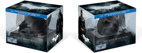 "'The Dark Knight Rises' releases on DVD and Blu Ray on December 4. Here's a shot of the limited edition broken cowl edition. Here's an idea of what we can expect to see: ""The Blu-ray combo pack is stuffed with a bunch of extras, from a documentary about the Batmobile, where all five Batmobiles are together for the first time, to Ending the Knight, an in-depth look featuring about 17 featurettes at how Nolan and his production team made The Dark Knight Rises, from Batman vs. Bane to totally demolishing a city street. Both the Blu-ray and DVD include a featurette called The Journey of Bruce Wayne. There are also trailers and art galleries."" Source: Warner Bros."