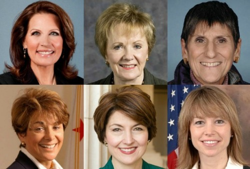 "theatlantic:  Study: Republican Congresswomen Look Twice as 'Feminine' as Democrats  You can read women's political ideology in their facial features. Call it the ""The Bachmann Effect.""  Read more. [Image: U.S. Congress]  What?"
