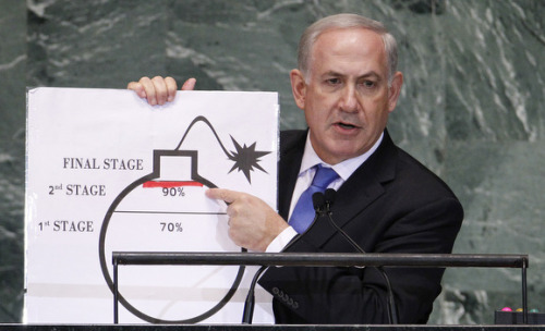 Israeli Prime Minister Benjamin Netanyahu toned down his ultimatums to President Barack Obama Thursday and focused on Iran, displaying a crude drawing of a bomb to dramatize his concerns about Iran's growing stockpile of enriched uranium. Read Laura's full report on his speech to the UN.