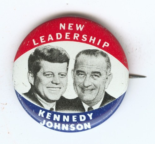 "Campaign Memorabilia, 1960 This campaign button with the slogan ""New Leadership - Kennedy/Johnson,"" was used during the 1960 presidential campaign."