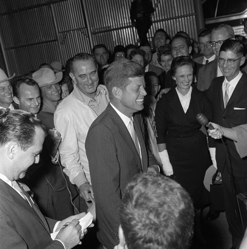 Candidates, 1960 Senator John F. Kennedy visiting Senator Lyndon B. Johnson at the LBJ Ranch in Texas during the 1960 Presidential campaign.  November 16, 1960.