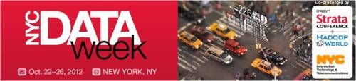nycdoitt:  Calling all Data Enthusiasts!  The first NYC Data Week, co-produced by the New York City Department of Information Technology & Telecommunications (DoITT) and O'Reilly Media's Strata Conference + Hadoop World spans October 22-26, 2012. The week's line-up includes a Startup Showcase with Fred Wilson and Tim O'Reilly, Ignite NYC @Strata, a hackathon, and several meetups.  As part of the citywide celebration, data champions are also invited to help plan the week by adding their own events to a crowdsourced calendar. Join the celebration!