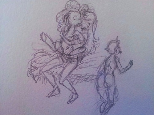 Thumbnail sketch for a commission, it's about 2.5 inches high and it still took me half an hour to do with just error-riddled stick figures. Slowest artist ever…   Involves Pinkie Pie, two lesbians, and a strap-on and I'll probably be redrawing it as a traditional watercolor.