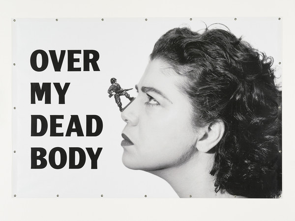 "Mona Hatoum. Over my Dead Body, 1988 - 2002. Inkjet print on PVC with grommets204 x 305 cm (80½ x 120"")."