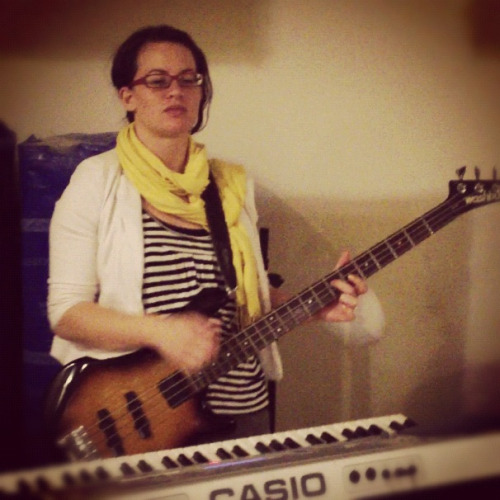 "Totally a bassist now.  At least in my head.   I got to finally have a go at playing bass tonight, for the first time ever, at my work's unofficial band's jam session Bandcamp.   Pretty confident I was totally awesome.   Well… ""Totally awesome"" may be stretching it, but I was kinda maybe almost sort of pretty much ok, I reckon.   Now I want a bass."
