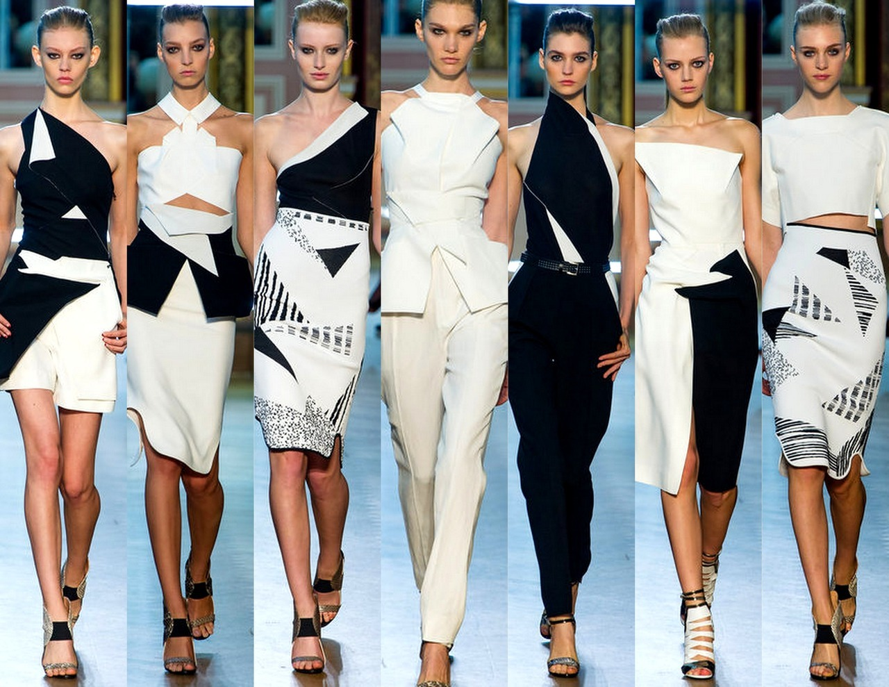 Faking Fashion - Trend-spotting Complex Geometries; Roland Mouret Spring 2013 - Paris                                                         This season is all about mixing up silhouettes and shapes. Roland Mouret's Black and white bias played into the designer's experiments with form, sculpting each look into something different but keeping in like with a strict structured tone. We've seen this trend develop on the Paris runways and at Roland Mouret these looks were harmonized by other colors of the season - red, forrest green & navy.