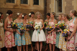 I love the floral/mismatched bridesmaid gowns.