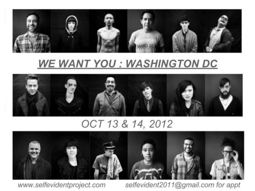 Self Evident Truths is coming to WASHINGTON DC!!! October 13th and 14th!  Spread the word, tell all your DC (and surrounding) gays to come down! It takes 5 minutes total. :)  Email selfevident2011@gmail.com for an appointment before they are all gone.  Here is the facebook event: http://www.facebook.com/events/502744863070702/permalink/502745043070684/?notif_t=like See you soon DC!
