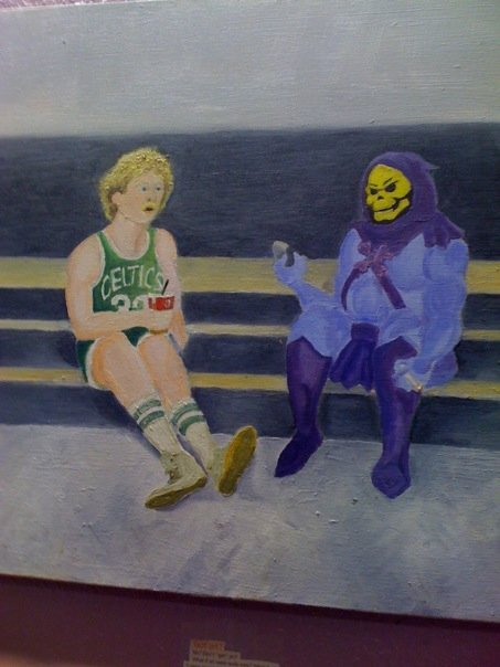 "geekcubed:  Larry Bird * Skeletor  This type of WTF-level randomness is exactly the type of thing I love.  townienews: ""Anything is possible."" —K. Garnett, June 2008 This is the greatest painting I have ever seen. With some oily brushstrokes of pop-cultural and sportingly inspired geniusness it brings together everything from my childhood onto one beautiful canvas. Cartoons, He-Man specifically (""Bring me some Fudgicles! Fahkin' Mastahz of the Universe is on, ma!""), sports, and ties brings it together into a plaintive, pleasant masterpiece of a mash-up. I want this so badly, but I'd feel guilty keeping it from the world. Almost brings a tear to my eye it's so absurdly wonderful. Why CAN'T Larry Bird and Skeletor, or any sports hero and cartoon villain, enjoy a milkshake together? World leaders take note. Bet they're both talking about how much they disliked Isaiah Thomas. fuckyeanba:  Somone uploaded this picture of a painting, which they claimed to have found in an ice cream parlor. In case you were wondering, that's Larry Bird enjoying a milkshake while sitting with Skeletor, the arch-enemy of He-Man. Skeletor appears to be enjoying a cigarette instead of a delicious lactose treat. I love milkshakes and Larry Bird, but I also enjoy a smoke every now and then, so this picture was begging to be blogged about.    This is very bizarre and therefore awesome."