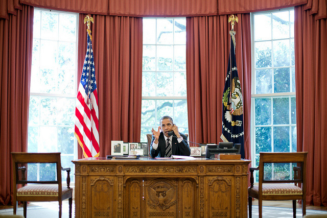 President Barack Obama talks on the phone with Prime Minister Benjamin Netanyahu of Israel, in the Oval Office, Sept. 28, 2012. (Official White House Photo by Pete Souza)  The White House on Flickr.