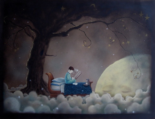 """Where the Sleigh Bed Goes"" oil, colored pencil and pastel on paper. 16""x20"" 2009 This was a fairly quick piece I did a few years back.  Another rough drawing that just kept going and going and going…"