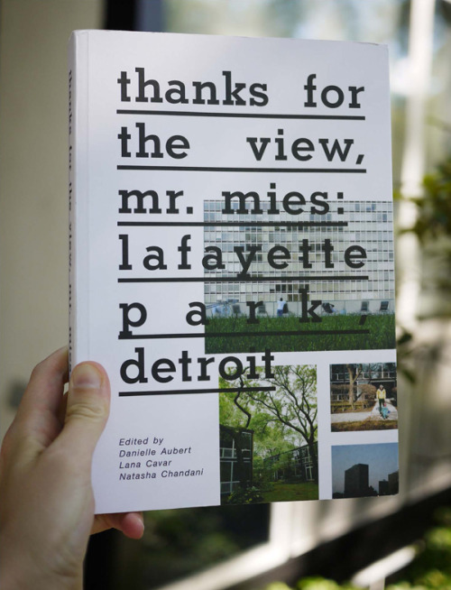 We're very excited for the book launch of Thanks for the View, Mr. Mies: Lafayette Park, Detroit — published by Placement Books — at No. 8a, the Ace New York branch of Project No. 8 and Various Projects, tonight at No. 8a off our lobby from 7-9pm. Lafayette Park, an affordable middle-class residential area in downtown Detroit, is home to the largest collection of buildings designed by Ludwig Mies van der Rohe in the world. Today, it is one of Detroit's most racially-integrated and economically stable neighborhoods, although it is surrounded by evidence of a city in financial distress. Through interviews with and essays by residents, reproductions of archival material, new photographs by Karin Jobst, Vasco Roma and Corine Vermeulen, and previously unpublished photographs by documentary filmmaker Janine Debanné, Thanks for the View, Mr. Mies examines the way that Lafayette Park residents confront and interact with this unique modernist environment.  Lafayette Park has not received the level of international attention that other similar projects by Mies have. This may be due in part to its location in Detroit, a city whose most positive qualities and cultural power are often overlooked in the media.  This book is a reaction against the way that iconic modernist architecture is often represented. Whereas other writers may focus on the design intentions of the architect, authors Aubert, Cavar and Chandani seek to show the organic and idiosyncratic ways that the people who live in Lafayette Park actually use the architecture and how this experience, in turn, affects their everyday lives. While there are many publications about abandoned buildings in Detroit and about the city's prosperous past, this book is about a remarkable part of the city as it exists today, in the twenty-first century. We'll see you tonight for a signing and launch party in one of our favorite shops in the world — we'd live in a glass house with them any day.