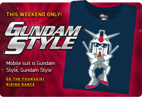 New design available this weekend at ThinkGeek. Gangnam Style meets Gundam Wing.