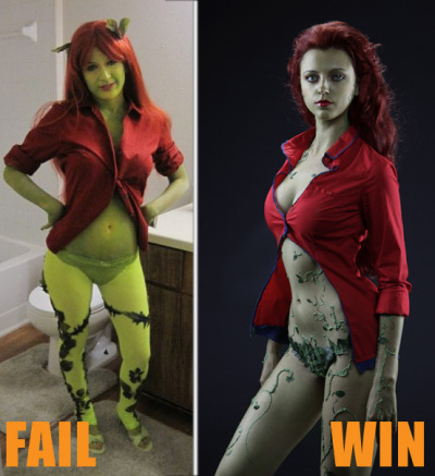 charliemcn33l:  Poison Ivy, cosplay - FAIL!!!  //Um? Wow you're really rude. Just because YOU don't like the girl on the left's costume as  much as the other one doesn't mean you need to be an asshole about it.Cosplay is about having fun and pretending to be someone you aren't. Also some people don't have the time and money to make bad ass costumes.Get over yourself.