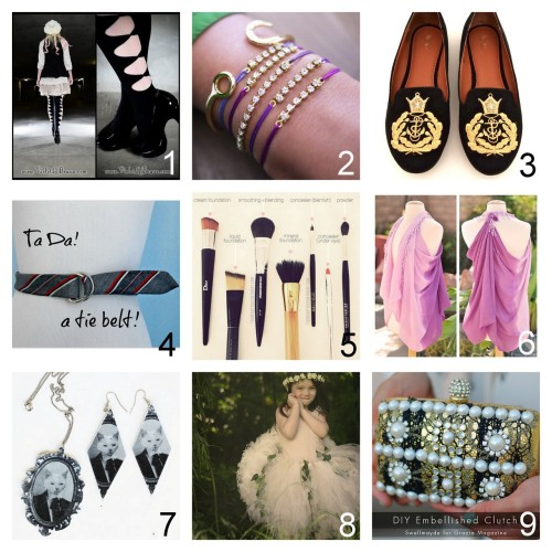 Roundup Nine DIY Jewelry, Beauty, Accessories and Fashion Tutorials PART TWO. Roundup of this past week. September 23rd - September 29th, 2012. *For past roundups go here: trebluemeandyou.tumblr.com/tagged/roundup Easy Bow Tied Stockings Tutorial from Violet LeBeaux here. Rhinestone Bracelet with Sliding Knot Closure Tutorial from Honestly…WTF here. Easy Gold Crest Flats Video Tutorial from Glitter 'N Glue here. Tie Belt Tutorial from Crafty Little Gnome here. Makeup Brushes for Your Face from The Beauty Department here. Long Scarf to Vest in Two Steps Tutorial from … Love Maegan here. Transferring Images to Leather Tutorial from Lana Red here. Tie On Tutu Tutorial from Grosgrain here. *Just saw a grownup version on another site. via rainbowsandunicornscrafts Dolce & Gabbana Inspired Embellished Clutch Tutorial from Swellmayde here.