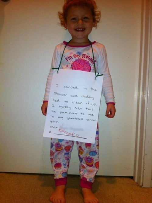 Courtesy of Brian, our senior editor… Forget dog-shaming — this dad is seeking long-term revenge on his toddler, and we have to admit that it's pretty hilarious.