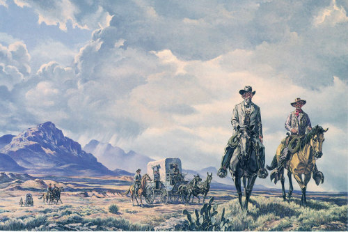 cultwestern:  More Tom Lea. Ranger Escort West of the Pecos. His Dad and Pancho Villa had a personal hatred for each other. Young Tom had to be escorted to and from school everyday by armed Texas Rangers (are there any other kind?).
