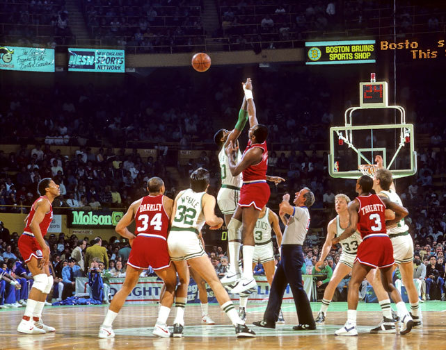 Robert Parish and Moses Malone take the tipoff to start a 1986 Celtics-76ers game. (Corbis) GALLERY: Classic Photos of the Celtics-76ers Rivalry