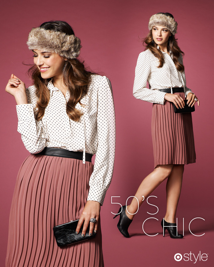 "Tai's Target 10: 50's Chic ""Pleated skirts are good for all shapes. The waistband accentuates the feminine silhouette."" -TB own it now: fur headband. polka dot blouse. rose pleated skirt with leather detail. black clutch. booties."