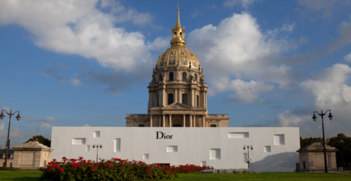 outside the Dior S/S '13 show at Les Invalides in Paris.