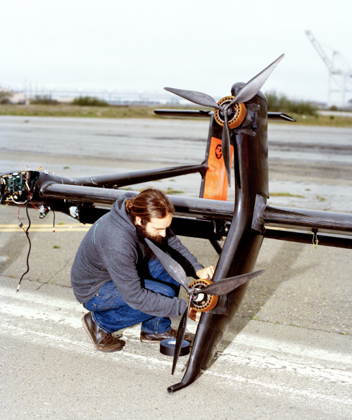 "jakestangel:  Setting up/building Makani Power's Airborne Wind Turbine, which is a ""tethered wing that generates power by flying in large circles where the wind is stronger and more consistent. It eliminates 90% of the material used in conventional wind turbines, and can access winds both at higher altitudes and above deep waters offshore — resources that are currently untapped. Our goal is the utility-scale deployment of airborne turbines in offshore wind farms."" Shot for Scientific American.  so excited for this."