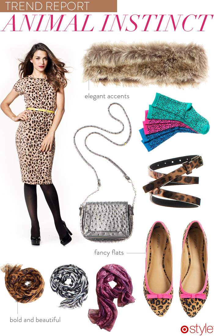 Trend Report: Animal Instinct own it now: top. skirt. fur headband. purple scarf. b/w scarf. leopard scarf. shoes. belt. purse.