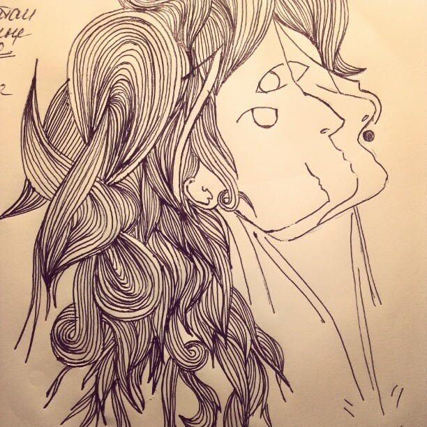 What happened on the lecture? #art #illustration #girl #pattern #hair #nose #surrealism (Taken with Instagram)