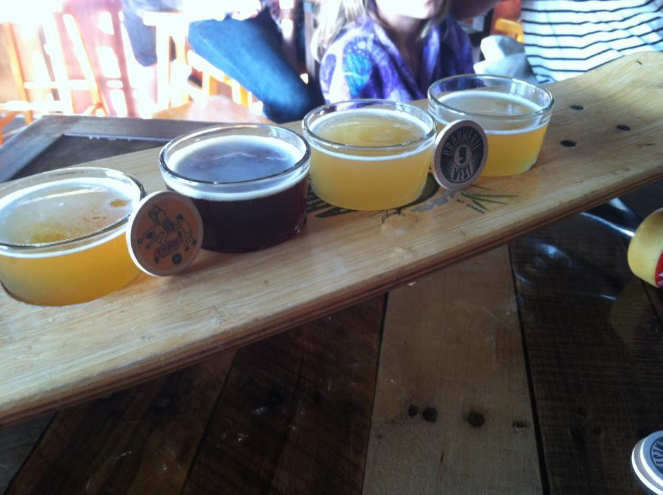brouwerijwest:  Deck flight of Brewery West beers (Tripel, Quad, Saison and Blond) at Venice Ale House  Welcome to Brewerij (that's Brewery) West — a new(ish) Southern California micro brewery with a twist. Their beer is dry and refreshing, and their bottle art is all created by independent artists.