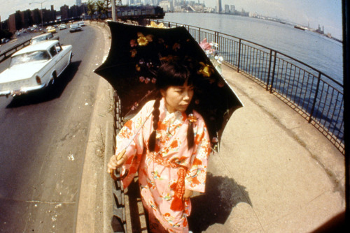 For her 1966 performance Walking Piece, Yayoi Kusama walked the streets of New York in a kimono as a commentary on her outsider status. Yayoi Kusama (b. 1929), Slide from Walking Piece, 1966. Slide projection, dimensions variable. Courtesy Victoria Miro Gallery, London; Ota Fine Arts, Tokyo; and Yayoi Kusama Studio. © Yayoi Kusama. 24 Photos by Eikoh Hosoe. © Eikoh Hosoe