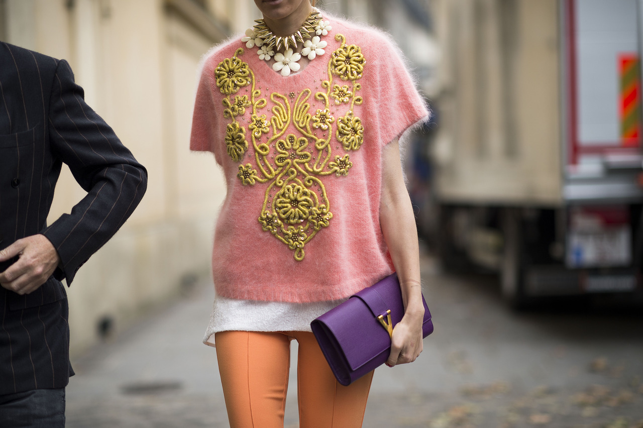 Photo by Le 21ème | Adam Katz Sinding Sherbet colors and spikes. Keep up with the best of fashion week street style.
