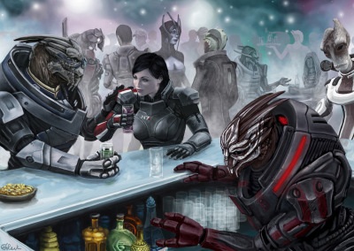 "sihastormborn:  Meet me at the bar by *efleck ""Not sure if Turian heaven is the same as yours but, if this thing goes sideways and we both end up there, meet me at the bar. I'm buying."" -Garrus Vakarian"
