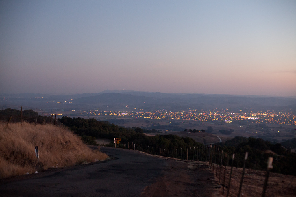On top of Sonoma Mountain at dusk