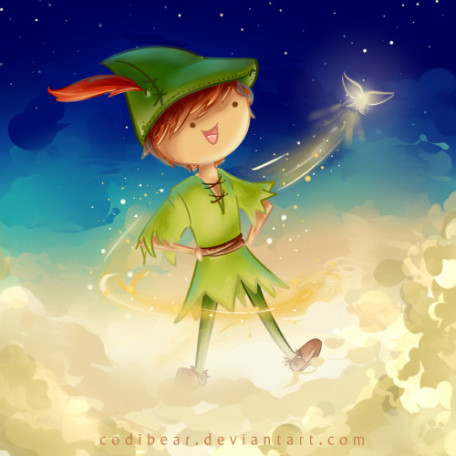 andrewducote:  codibear8383:  New painting! :D Peter Pan and Tink! I'm planning on uploading a time-lapse video to YouTube of the process sometime tonight or tomorrow :) Hope you guys like it! I was inspired by Andrew and Hali Ducote to draw it  I LOVE THIS!