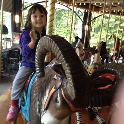 At #willowbrook #carousel, cashing in on that bribe Mama offered to urge a crying toddler to preschool. (Taken with Instagram)