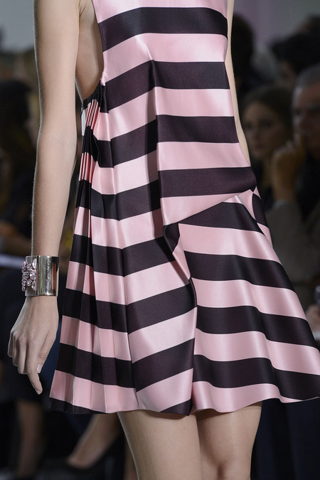 Stripes, and gathers, and pleats, oh my! beckymalinsky: Dior, spring 2013 photo: style.com