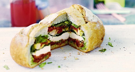 veganfoody:  Antipasti-stuffed LoafSub the cheese for Daiya wedges to make this extra yummy.