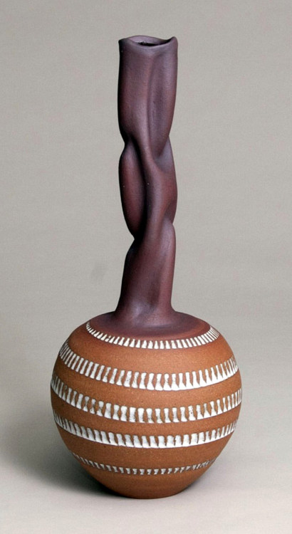 "Ellen Schön: Cycladic Bottle (white dash), 2011, Stoneware, 16"" x 7"" x 7"""