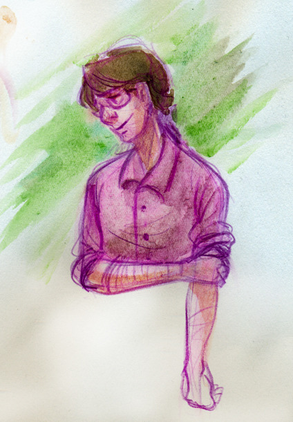 Welp, didn't take long at all to get back on the fandom train…a watercolor I did of Bruce on paper that I learned a little too late was terrible for water colors.