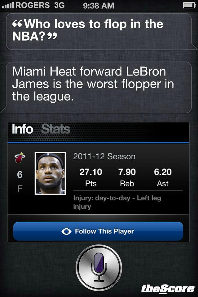 """SIRI who loves to flop in the NBA""? SIRI: ""LeBron James"". Agree / Disagree?"
