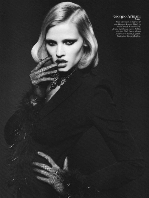 Lara Stone by Mario Sorrenti. Vogue Paris February 2011