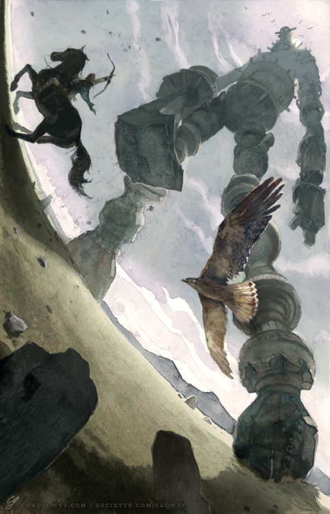 fuckyeahillustrativeart:  Shadow of the Colossus illustration by Chad Gowey. Prints available on Society6.  Love the perspective.