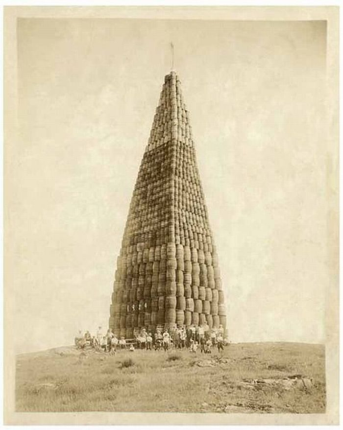 Barrels of alcohol stacked sky high to be burned during prohibition