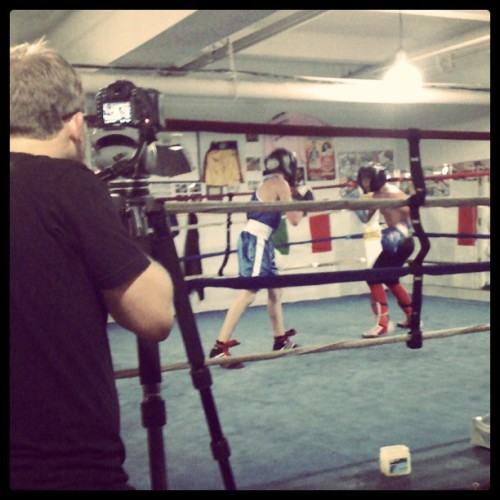 THNKR filming intense sparring session Reshat Mati in Brooklyn (Taken with Instagram)