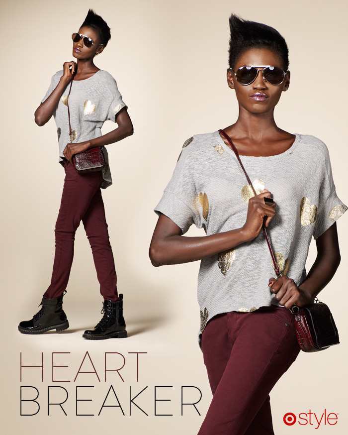 "Tai's Target 10: Heart Breaker ""This look is hipster - fun and cool. It's all about the details. Her earrings say ""Love"" and ""You"" to go with the hearts in her sweater."" -TB own it now: gold heart gray tee (shop in store). cranberry skinnies. black patent boots. croc crossover. gold aviators. ""love"" ""you"" earrings."