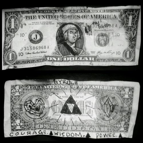 vonzeleny:  Today at work, someone tipped me a Hyrule dollar. Win.